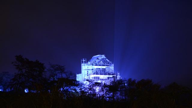 世界糖尿病デー2014 ブルーライトアップ in白河小峰城 ブルーライトアップの点灯式